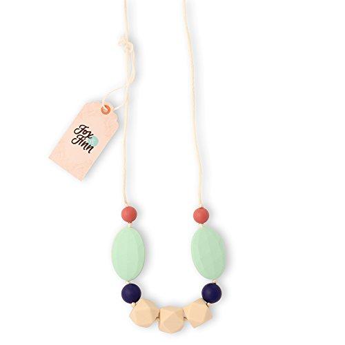 Fox & Finn 'Madison' Silikon Zahnen Halskette für Babys | Sicherheit geknotet seide Seil | nicht Ziehen Haar | 35,6cm Drop