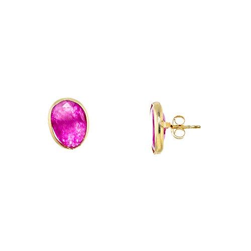 Córdoba Jewels | Pendientes en plata de Ley 925 bañada en oro. Diseño Gota Frambuesa