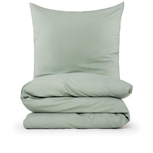 Blumtal Mikrofaser Bettwäsche 135x200 cm + Kissenbezug 80x80 cm - Superweiches Bettbezug Set, 2 teilig, Sommergrün