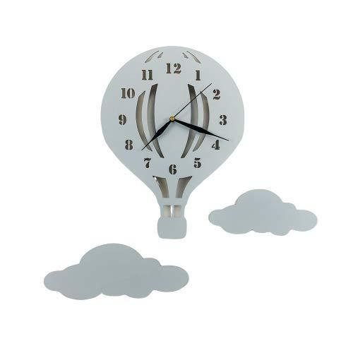 BABEES Kinder Wanduhr Ballon mit Wolken, Uhr ohne Tickgeräusche, Kinderuhr Heißluftballon für Kinderzimmer, Lautlos Uhrwerk, Wanddeko Scandi Deko Junge Mädchen Unisex grau