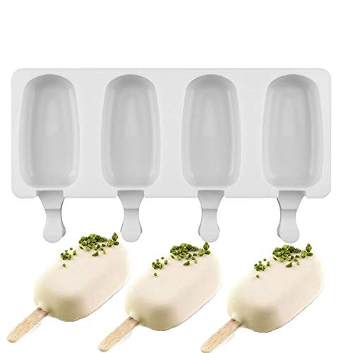 Silicone Ice Cream Molds Ijslollie Vormen vriezer Ice Cream Bar Mallen Homemade Maker met ijslollystokken (Color : L)