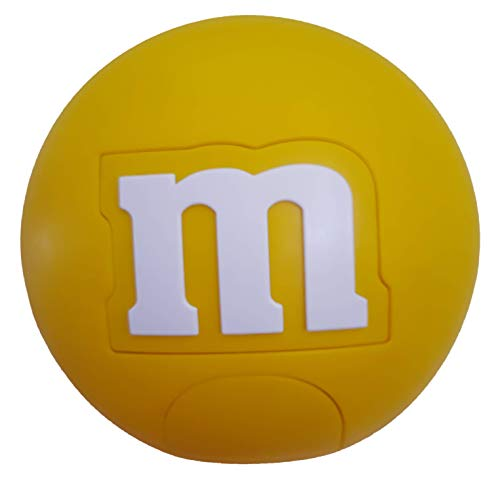 M Lentil Candy Dispenser by M&M with Red Blue and Yellow Dispensing Candy, Gumballs, Nuts, Snacks & Treats for Children, Kids, Adults (Yellow)