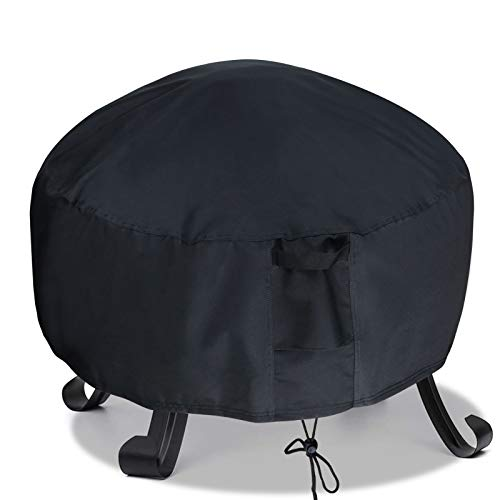 TheElves Round Fire Pit Cover, 36 x 20 Inch Waterproof Windproof 600D Heavy Duty Patio Firepit Bowl Cover, Black
