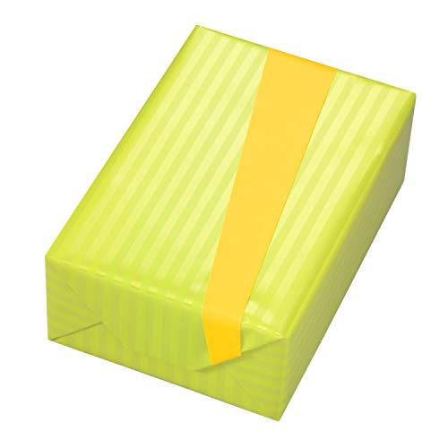 Geschenkpapier 3 Rollen, Motiv Zebra Perlglanz-Streifen in grün auf Vorderseite mit matt-gelber Rückseite. Hochwertiges Premium-Papier für Geburtstag, Frauen, Sommer, Frühling, Ostern.