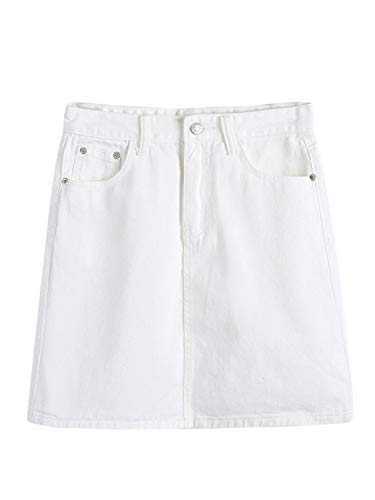 PERSUN Women's Casual Jean Pocket Zip Front Plain A-Line Mini Skirt White
