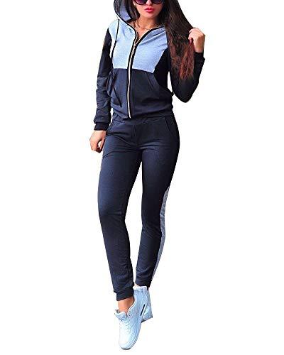 Minetom Damen Mode Trainingsanzug Frauen Sportanzug Farbnähte Hoodie mit Kapuze Lange Ärmel Zipper Top + Lange Hose Jogginganzug Sportswear 2 Stück Set Sport Yoga Outfit (36, Navy blau)