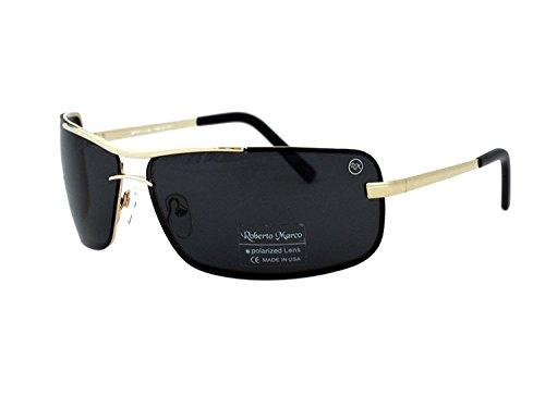 Roberto Marco gepolariseerde zonnebril voor bestuurders grijs rook lenzen. Goudkleurig frame - Anti-Glare Lenzen