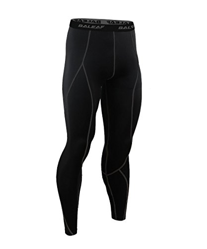 Baleaf Men's Running wear Fitness Workout Compression Pants Base Layer Tights Black Size XL