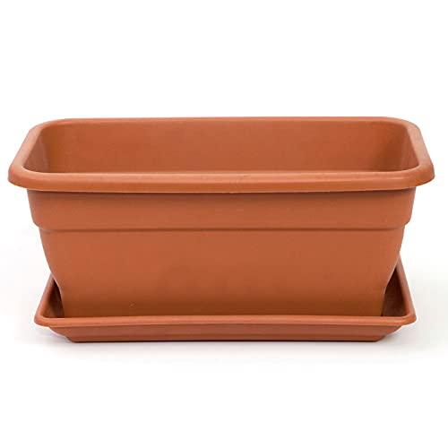 Jardinera Eva de plástico con Plato Adán 20 litros. Macetero, Maceta para Plantas y Flores Rectangular de plástico con Agujeros de Drenaje (50 cm, Marrón)