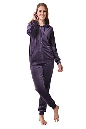 RAIKOU Damen Hausanzug Trainingsanzug Velours Nicki Freizeitanzug Jogginganzug Schlafanzug Kapuzenpullover mit Reißverschluss Hose mit Kordelzug und Taschen (Dunkel Lila,36/38)