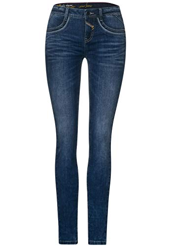 Street One Damen 373541 Style York Slim Fit Jeans, Authentic Blue Washed, W32/L32