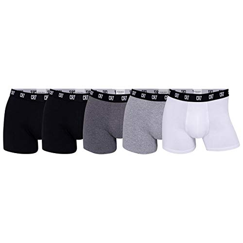 CR7 Herren Cotton Trunks Five Pack Badehose, Black/Grey/White, M