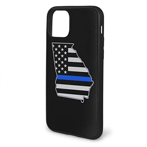 N/A iPhone 11 hoesje Georgia politie blauwe lijn vlag siliconen gel rubberen beschermhoes voor iPhone 11