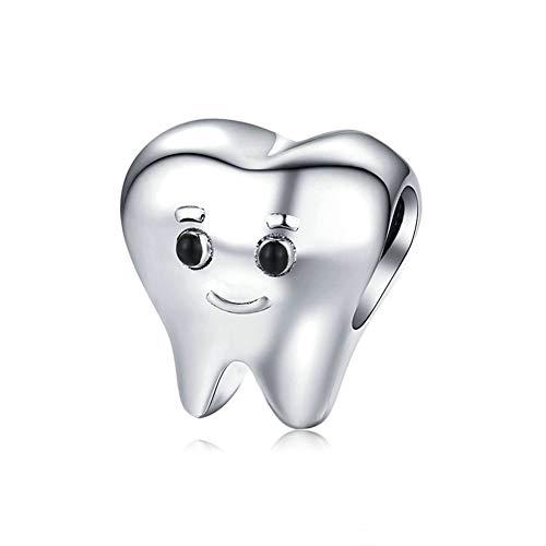 LAMOONY Smile Tooth Charm 925 Sterling Silver Health Charm Anniversary Charm Love Charm Birthday Charm for Pandora Charm Bracelet (A)
