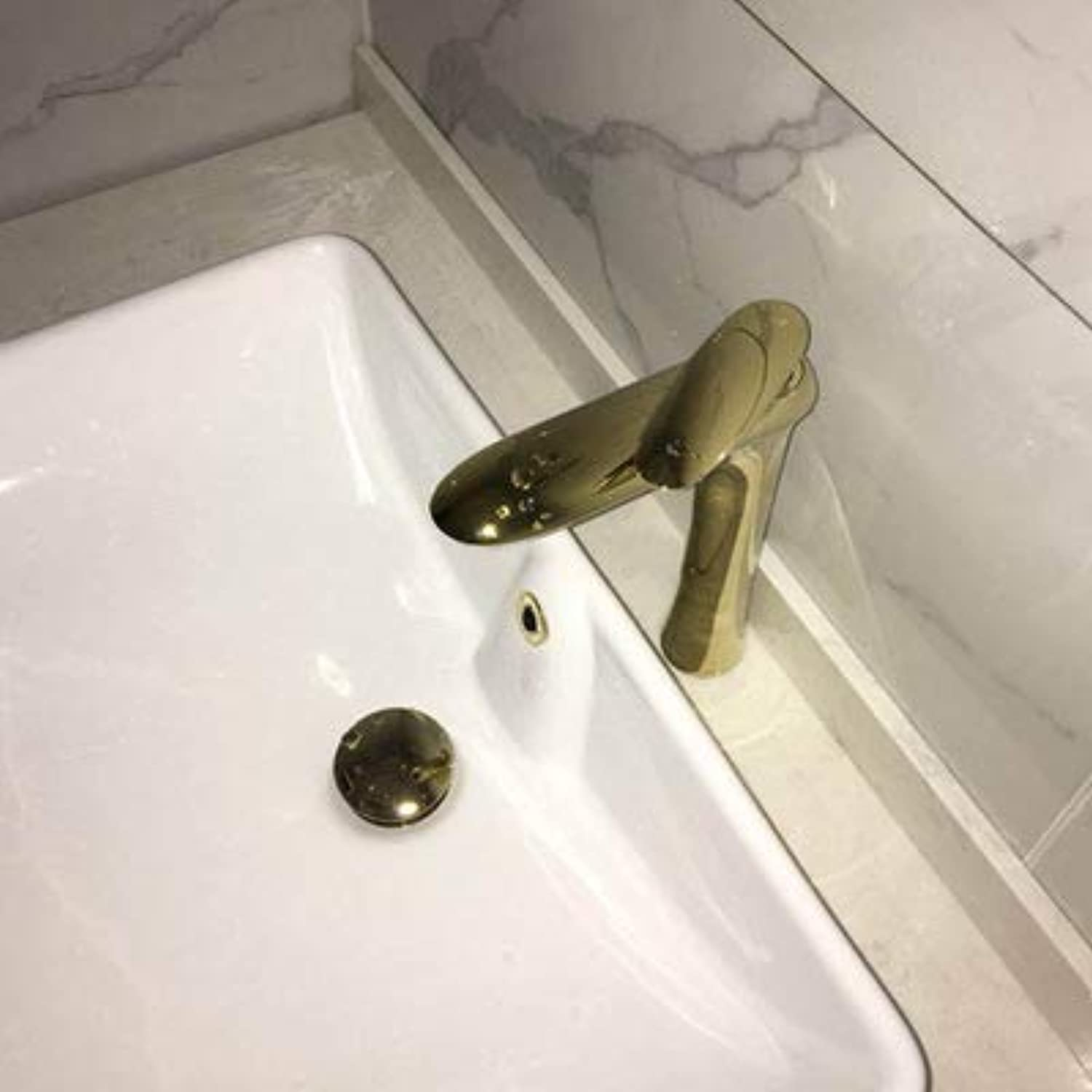 Faucet Bathroom Cabinet Faucet Kitchen wash Basin Basin Single Control hot and Cold Bathroom Faucet gold high Section
