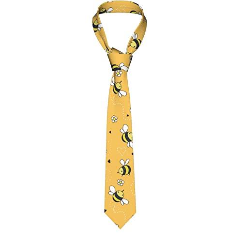 Paedto Corbatas de Hombre, Longitud estándar, Corbata de Moda para Hombres, Corbata de Lujo para Bodas, Negocios Formales, Fiesta de Graduación (Doodle de dibujos animados abejas lindas)-8x145cm