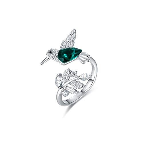 VJUKUBCUTE Bird Silver Open Ring Female mit Swarovski Element Crystal S925 Silberring für Frauen-Geschenk oder Hochzeit oder Engagement
