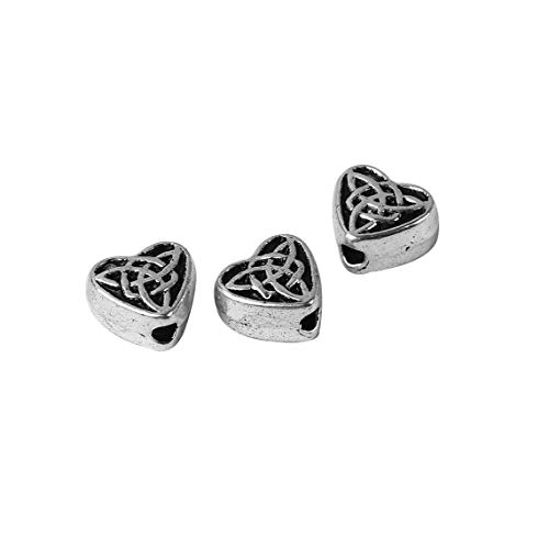 20 Pc Celtic Knot Heart 6.5mm Antiqued Silver Plated Spacer Beads - Jewelry Making Supply by Charm Crazy