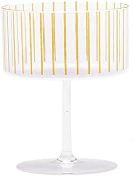 Sugar & Cloth Gold Stripe Plastic Champagne or Dessert Coupe Set, 4-Piece