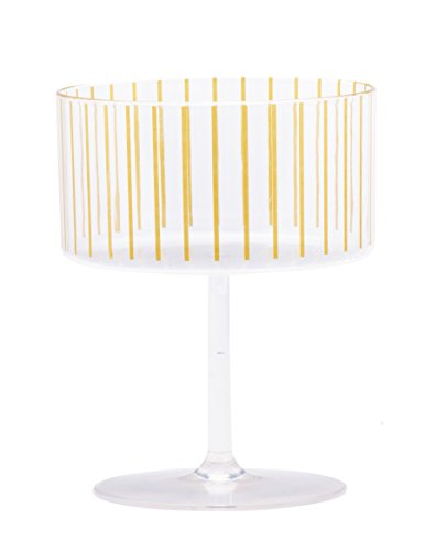 Sugar & Cloth Gold Stripe Plastic Champagne or Dessert Coupe Set, 4-Piece