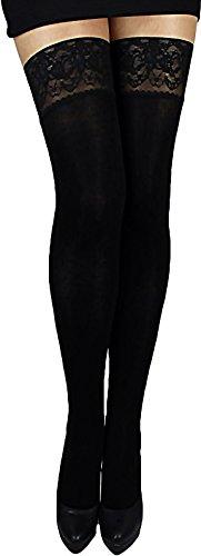 Unbekannt Warme weiche halterlose Strümpfe blickdicht 200 den mit Spitzenabschluß und Silikonstreifen für Winter (M, schwarz)