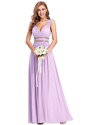 Ever-Pretty Damen Abendkleid A-Linie V Ausschnitt Cocktailkleid rückenfrei lang Lavendel 46