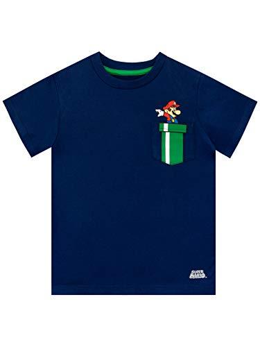 Super Mario Maglietta Maniche Corta per Ragazzi Blu 6-7 Anni