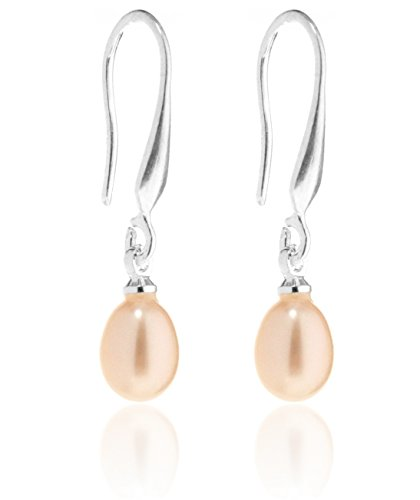 2LIVEfor Perlenohrringe Hängend Silber Tropfen Versilbert mit echten Süßwasserperlen Tropfenform Ohrringe Perlen Weiß Creme Rosa Rose Ohrhänger Perle (Rosa)