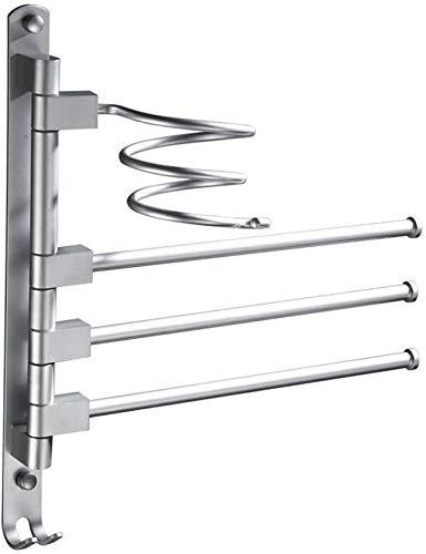 SLINGDA Handdoek Rail Rail - Haardroger Houder - 180 deg Roterende staaf, Multifunctionele Activiteit Bar,Aluminum, 33 W X 38H cm