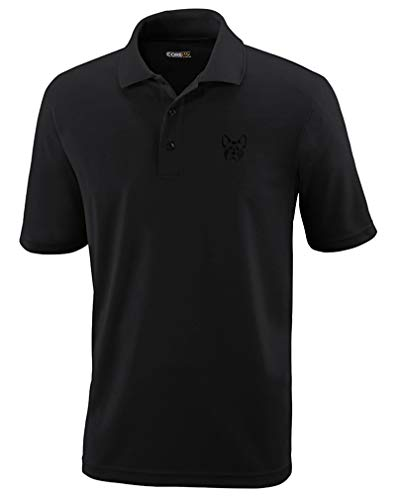 Polo Performance Shirt French Bulldog Silhouette Embroidery Design Polyester Golf Shirt for Men Black X Large Design Only