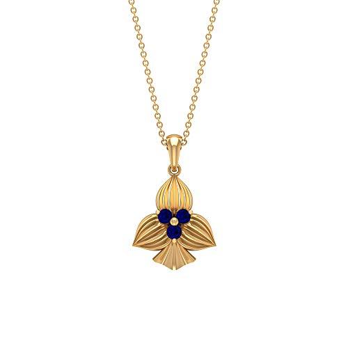 Colgante de zafiro azul de 2,5 mm, colgante de tres piedras, colgante de flor de oro macizo, 14K Oro amarillo Sin cadena