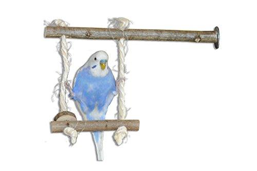 Vogelgaleria Vogelschaukel aus Naturholz | Schaukel als Wellensittich Spielzeug | Swing Spaß für Nymphensittich