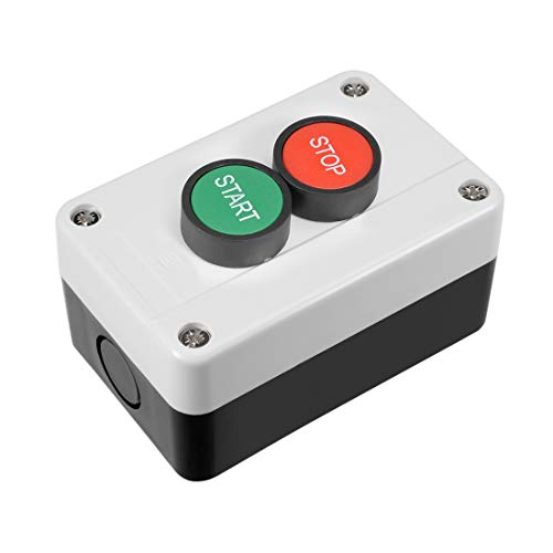 uxcell Push Button Switch Station Momentary NC Red, NO Green, 380V 10A, Start/Stop