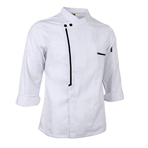 oshhni Chef Retro Chaqueta Abrigo Uniforme Manga Larga Hotel Cocina Ropa - Blanco, XL