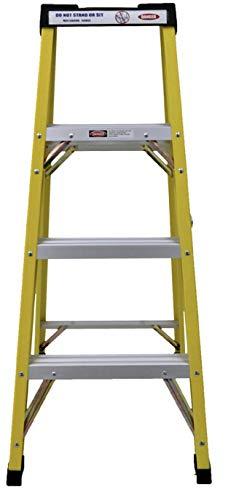 Calibre de fibra de vidrio 4 Escalera de tramos Escalera de paso para electricistas de servicio pesado de grado profesional de 30,000 V nominal