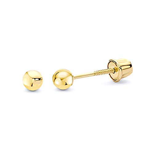 14k Yellow Gold 3mm Ball Stud Earrings with Screwback
