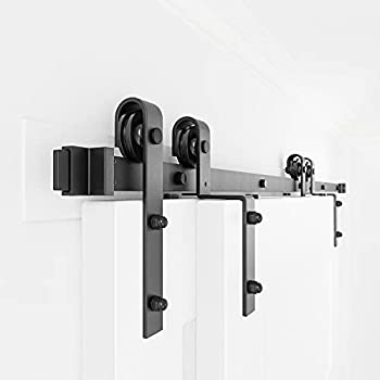 WINSOON 9FT Single Track Bypass Barn Door Hardware Double Doors Kit Heavy Duty Sliding One Track Antique Roller for Cabinet Closet Fit Double 54  Wide Doors