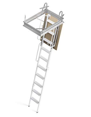 Mister Step scala retrattile 4P con struttura rigida a 4 pezzi, corrimano e botola (90x80 H300 cm.)