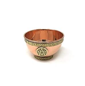 VrindaTibetan Copper Offering Bowl, Design Pentacle