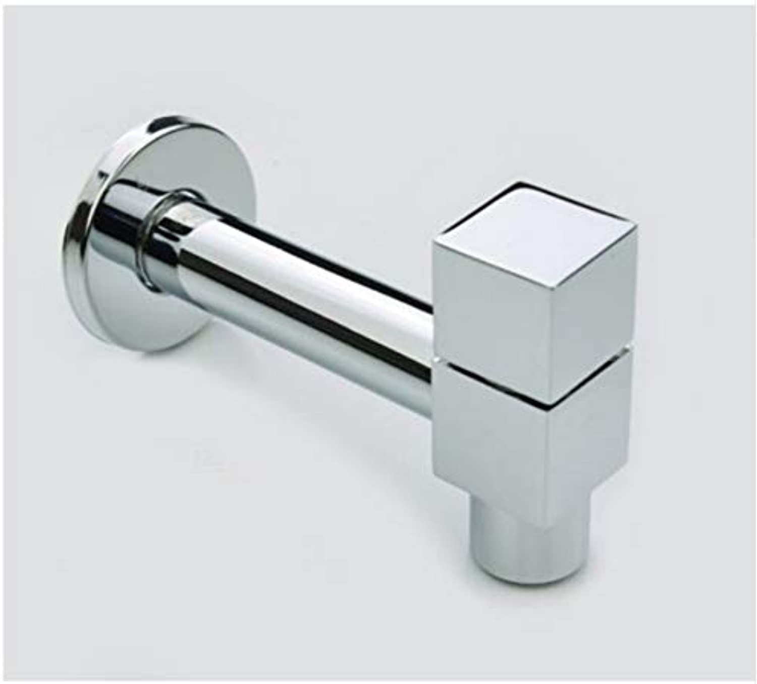 LLLYZZ Brass Cold Water Faucet, Wall Mounted Basin Tap, Basin Bibcock Square Cold Faucet