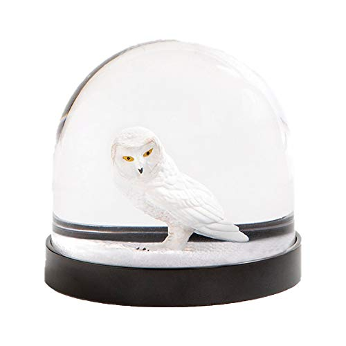 Witzige Schüttelkugel Schneekugel hochwertig mit Eule und Glitter in Weiß, 8 x Ø 8.5 cm
