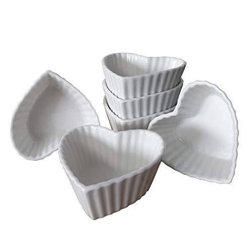 ToCi Dip-Schalen Set Weiß 6 Stück Spülmaschinenfest für Gewürze Snacks Saucen kleine Schälchen Ø9x4cm (Herz)