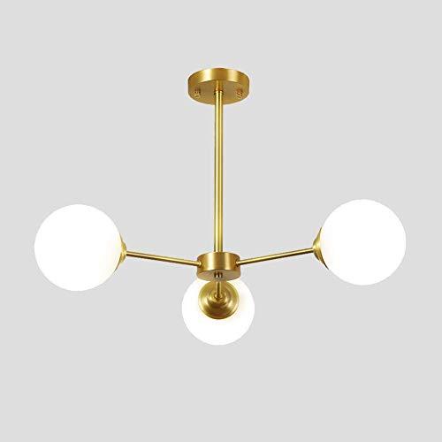 Lámpara de araña de oro moderna, portalámparas E27 con luz colgante de pantalla de cristal esmerilado blanco, sala de estar, restaurante, dormitorio, lámpara de techo, oro, 3 luces
