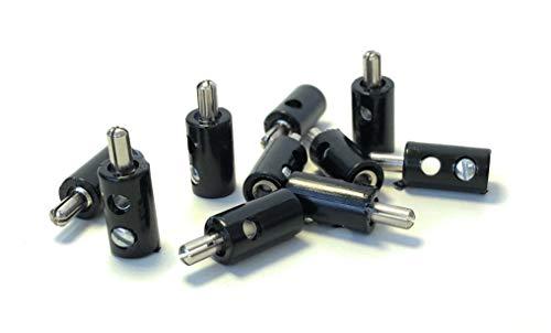 BELI-BECO 61/7 Querlochstecker - Miniatur-Bananenstecker mit Stift-Ø: 2,6mm - 10 Stück (Schwarz)