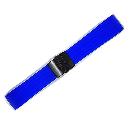 WWXFCA Mesa deportiva de silicona con hebilla plegable de 18 a 24 mm de goma impermeable para hombre, accesorios de equipo de música (color de la correa: azul real, negro, ancho de la correa: 18 mm)