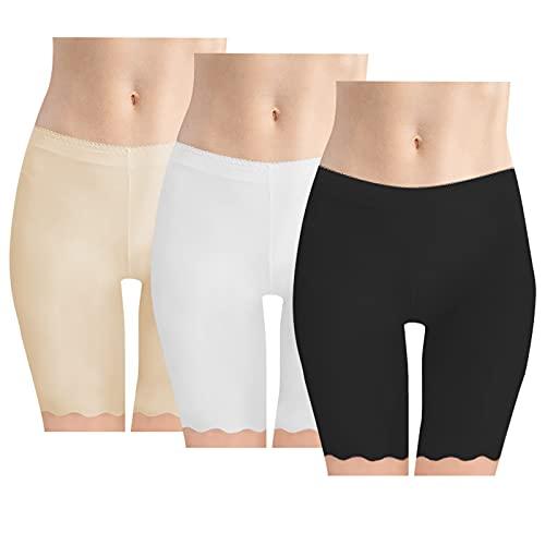 YSense Cortos Mujer Calzoncillos Boxer Yoga Estiramiento Seguridad Shorts Sin Costuras 3 Piezas ,Talla L