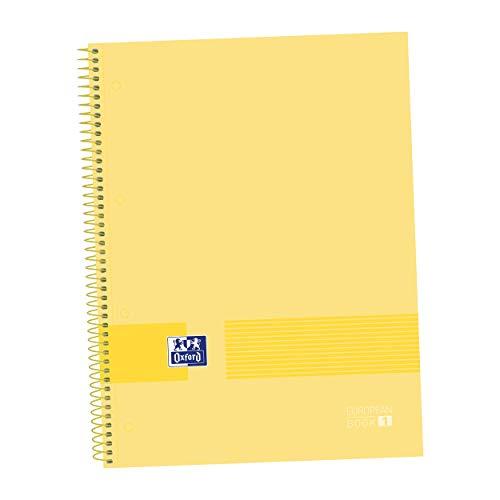 Oxford, Cuaderno A4, cuadrícula 5x5, tapa dura, microperforado, Libreta A4 Europeanbook1, 80 hojas, 90 grs, color banana