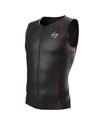 Zimco Men Performance Triathlon Tank Tri Top Triathlon Singlet Tri Shirt Full Zipper Swim Bike Run