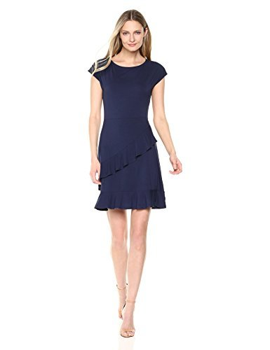 Lark & Ro Women's Jersey Cap Sleeve Faux Wrap Dress with Asymmetric Ruffle Hem, Peacoat