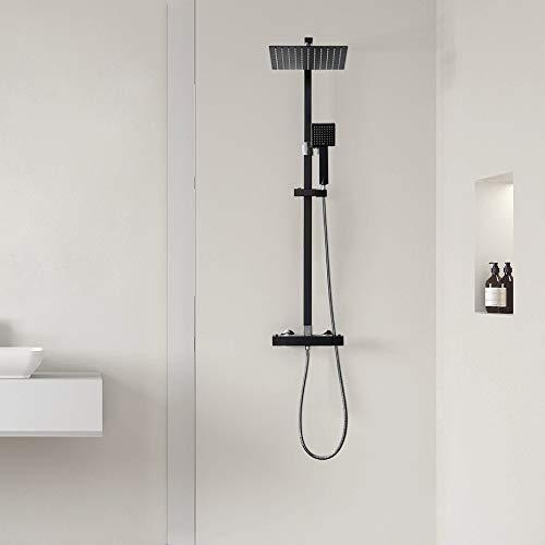 Auralum Duschsystem mit Thermostat eckig, Duschset mit 10 Zoll quadratischer Regendusche, Duschkopf, verstellbarer Duschstange aus Edelstahl, schwarz